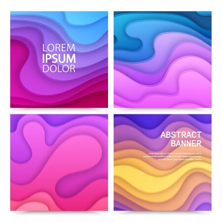 Paper cut background set with 3D abstract background of red, yellow colorful waves layers. Bright layout design for brochure, flyer or greeting cards. Paper art, illustration