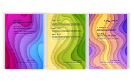 Set of Vertical banners a4 format with 3D abstract background and paper cut shapes. Design layout for business presentations, flyers, posters and invitations. Colorful carving art, Vector eps 10 illustration