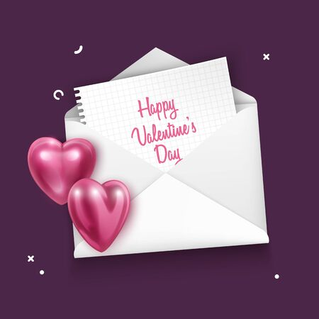 Envelope with red hearts for valentine day on dark background, greeting card, vector eps 10 format Çizim