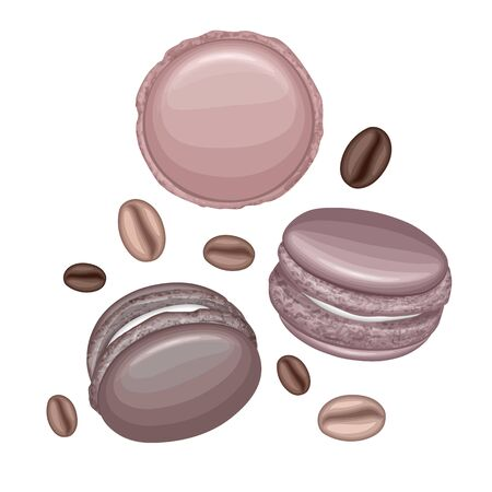 Chocolate macaroons and coffee beans isolated on white background, Vector eps 10 illustration