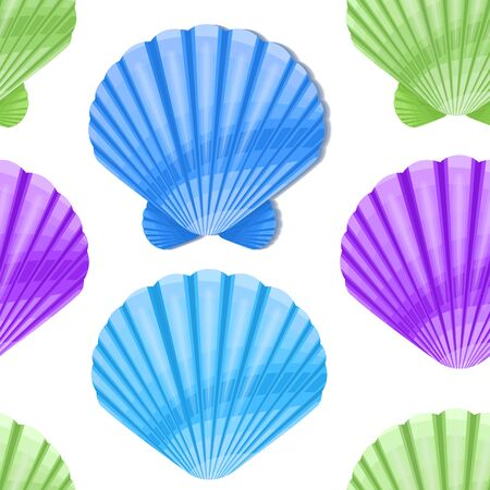 Seamless background design with colorful seashells on white background, Suitable for packaging fabric or napkins and menus decoration. Vector eps 10 format