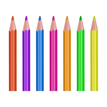 Crayons - colored pencil set loosely arranged, vector eps 10 illustration on white background.