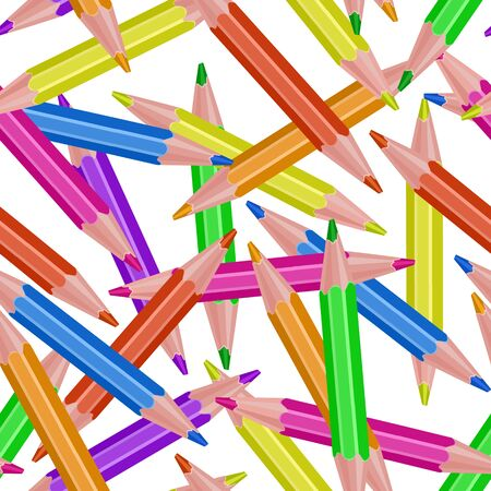 Seamless, endless pattern with Colored pencils on white background, vector
