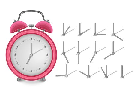 Red vintage alarm clock show 7 o'clock isolated on white background. Vector eps 10 format