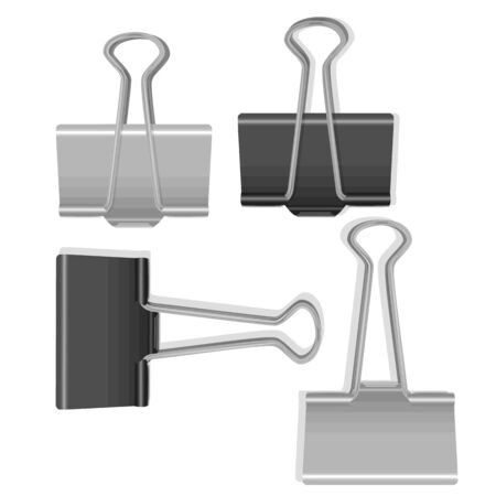 Set of black and white paperclips on white background, office supplies Stock Illustratie