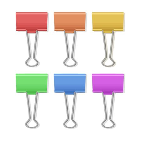 Set of multicolored paperclips on white background, office supplies