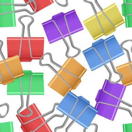 Seamless, endless pattern with multicolored paperclips on white background, office supplies, vector illustration