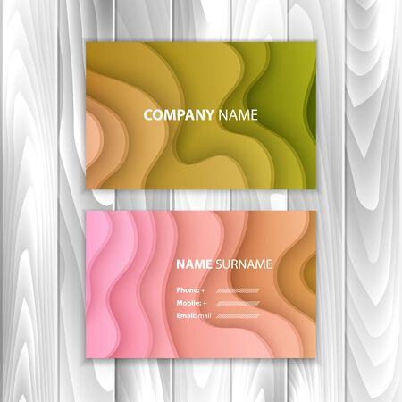Business card set, with colorful paper cut design, vector eps 10 illustration