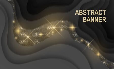 Black background textured with cutout paper layers and golden glittering halftone pattern, Abstract realistic wavy layers and golden glitters. 3d topography relief. Vector illustration Stockfoto - 145983379