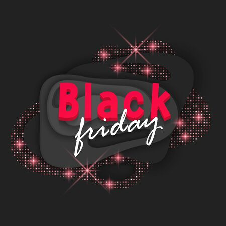 Black Friday sale card. Commercial discount event banner. Black background textured with cutout paper layers and red glittering pattern. Vector eps 10 format. Ads, business Stock Illustratie
