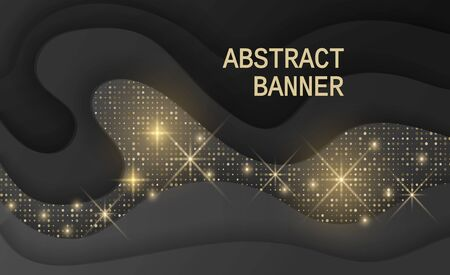 Black background textured with cutout paper layers and golden glittering halftone pattern, Abstract realistic wavy layers and golden glitters. 3d topography relief. Vector illustration Stock Illustratie