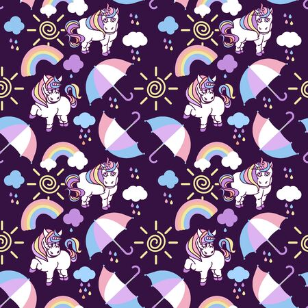 Seamless pattern with unicorns, rainbow, clouds, umbrellas and other elements.Vector background in cartoon style. Stockfoto - 147259820