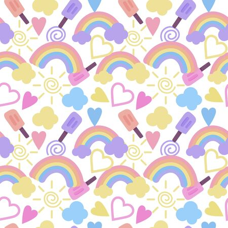 Seamless pattern with rainbow, clouds, hearts and other cute elements, background in cartoon style. Stockfoto - 147259823