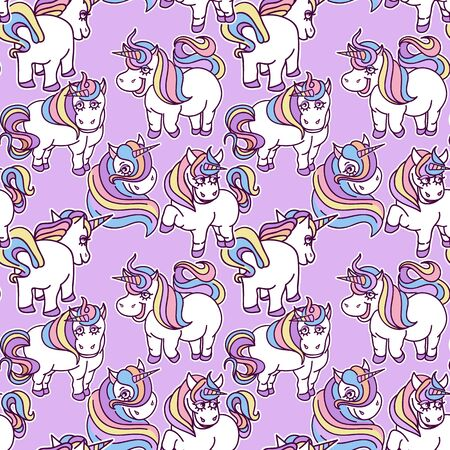 Seamless pattern with cute unicorns in cartoon style on purple background, Perfect for fabric, wallpaper, wrapping paper.