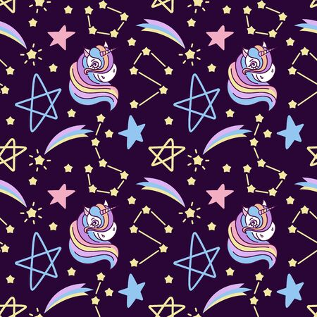 Hand drawn Seamless pattern with unicorns, pattern with cute unicorns, stars and space. Repetitive wallpaper on dark blue background. Perfect for fabric, wallpaper, wrapping paper or nursery decor. Vector illustration Stockfoto - 147259828