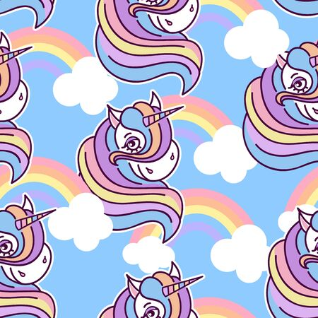 Seamless pattern with cute unicorns and rainbow in cartoon style on blue background, Perfect for fabric, wallpaper, wrapping paper. Stockfoto - 147259829