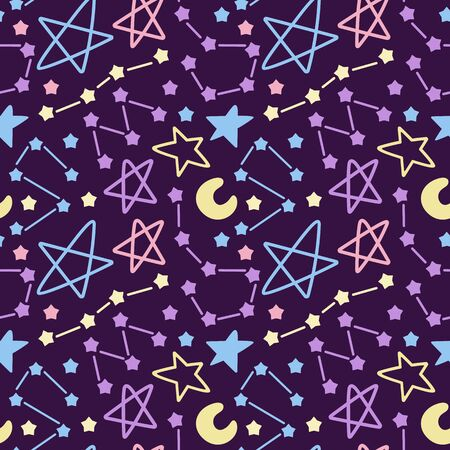 Colorful space seamless pattern with comets, constellations and stars. Night sky hand drawn doodle astronomical background.