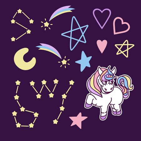 Vector cliparts with unicorn, rainbow, stars, hearts and other elements for your design, background in cartoon style. Stock Illustratie