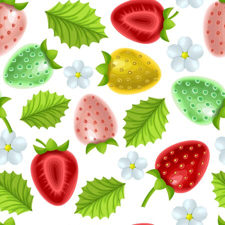 Seamless, endless botanical pattern with flowers and berries of strawberry on white background in cartoon style can be used like Template for kitchen design, packaging for paper or textiles