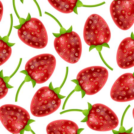 Seamless and endless Botanical pattern background decorated with strawberries on white background. Stockfoto - 147259838