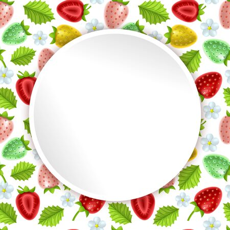 Greeting card, summer card decorated with a pattern with the image of strawberries, card with a round frame and a place for text, vector eps 10 format Stockfoto - 147064164