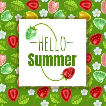 Hello Summer seasonal banner design. Greeting card decorated with frame strawberries fruits on abstract color background. Stockfoto - 147259840