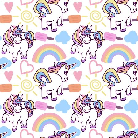 Childish seamless pattern with unicorns. Creative nursery background. Perfect for kids design, fabric, wrapping, wallpaper, textile, apparel, vector illustration Stock Illustratie