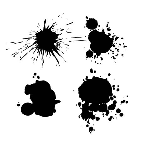 Ink blot collection isolated on white background, vector abstract art