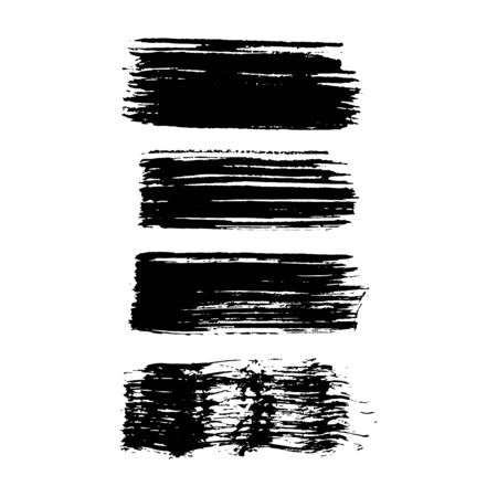 Set of Black brush strokes isolated on white background. Trendy brushstroke for black ink paint,grunge backdrop, dirt banner, design and dirty texture. Brush stroke Vector format Stockfoto - 147502456