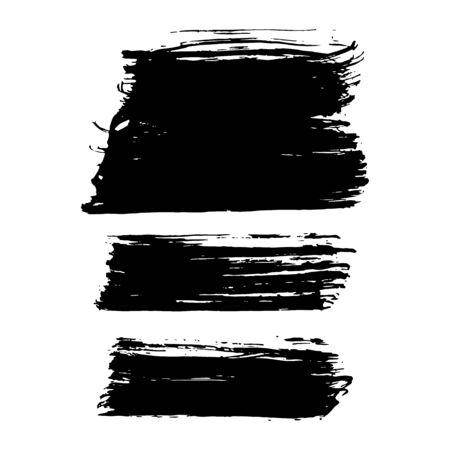 Set of Black brush strokes isolated on white background. Trendy brushstroke for black ink paint,grunge backdrop, dirt banner, design and dirty texture. Brush stroke Vector format