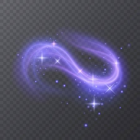 Glow effect of purple color with stars, Power energy, Shining neon cosmic streaks. Magic design of whirl. Swirl trail effect, Smooth wave. Light flow. Sci fi tech, illustration on dark background, Vector eps 10 format Stockfoto - 147561714