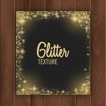 Greeting card cover with golden glittering texture. Greeting card with place for text, Postcard on a wooden substrate, vector illustration