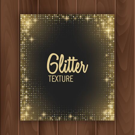 Greeting card cover with golden glittering texture. Greeting card with place for text, Postcard on a wooden substrate, vector illustration Stockfoto - 148157285
