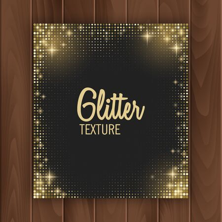 Greeting card cover with golden glittering texture. Greeting card with place for text, Postcard on a wooden substrate, vector illustration Stockfoto - 148157287