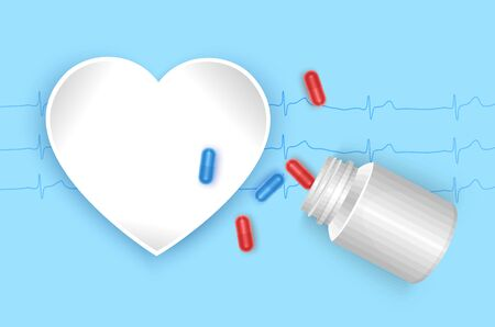 Various Medicine Tablet, Capsule, Pill and frame in shape of heart. Pharmacy drugs, card with space for text, vector illustration Stockfoto - 148157290