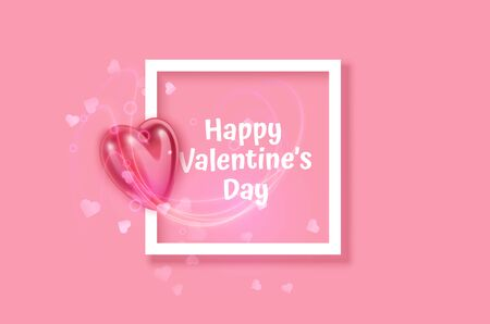 White frame on Festive pink background and 3d heart on light pink pastel background. Christmas. Wedding. Birthday. Happy woman's day. Mothers Day. Valentine Day. Top view, copy space, Vector format