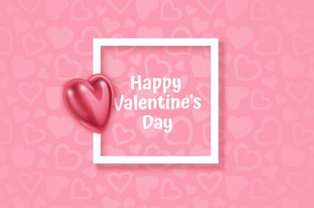 White frame on Festive pink background and 3d heart on light pink pastel background. Christmas. Wedding. Birthday. Happy woman's day. Mothers Day. Valentine Day. Top view, copy space, Vector format Stockfoto - 148558867