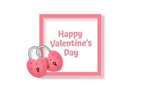 Red lock in the shape of a heart and pink frame on white background, greeting card for Happy woman's day. Mothers Day. Valentine Day. Top view, copy space, Vector format