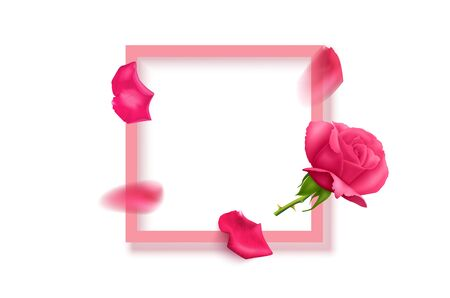 Beautiful flowers composition. Blank frame for text, pink rose flowers on White background. Valentines Day, Easter, Birthday, Mother's day, top view with copy space, vector illustration Stockfoto - 148559052