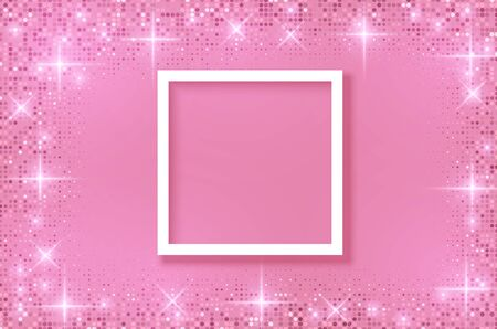 White frame on Festive pink background. Shining stars on light pink pastel background. Christmas. Wedding. Birthday. Happy woman's day. Mothers Day. Valentine Day. Top view, copy space, Vector format Stockfoto - 149118923