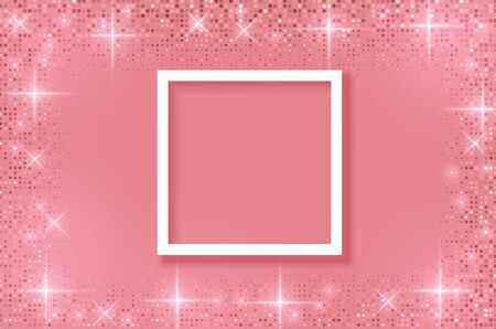 White frame on Festive pink background. Shining stars on light pink pastel background. Christmas. Wedding. Birthday. Happy woman's day. Mothers Day. Valentine Day. Top view, copy space, Vector format Stockfoto - 149119521