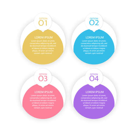 Infographic design and marketing icons can be used for workflow layout, diagram, annual report, web design. Business concept with 4 options, steps or processes. vector format Stock Illustratie