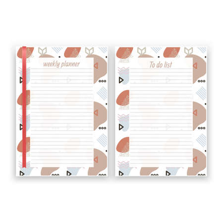 Set of sheet of paper in a4 format with weekly planner and list for notes templates decorated. Printable pages for diary or reminder for task organization, Vector illustration format Stockfoto - 150581179