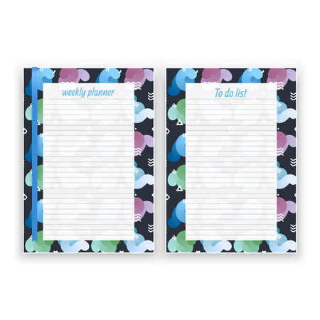 Set of sheet of paper in a4 format with weekly planner and list for notes templates decorated. Printable pages for diary or reminder for task organization, Vector illustration format Stockfoto - 150580629