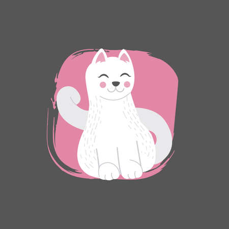 White cat in doodle style on dark background, vector eps 10 format