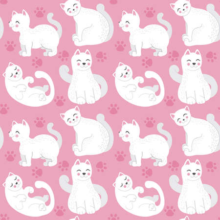 Seamless childish pattern with cute cats on pink background. Creative kids hand drawn texture Vector eps 10 format Stock Illustratie