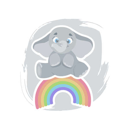 Cute cartoon elephant sitting on a rainbow, can be used as a print on childrens clothing, vector eps 10 illustration Stock Illustratie