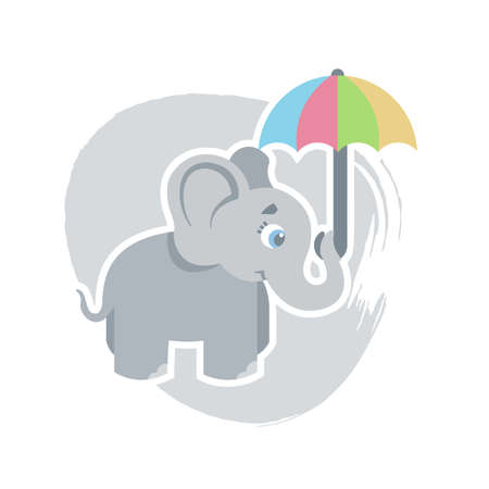 Cute cartoon elephant holds the umbrella with its trunk, can be used as a print on childrens clothing, vector eps 10 illustration