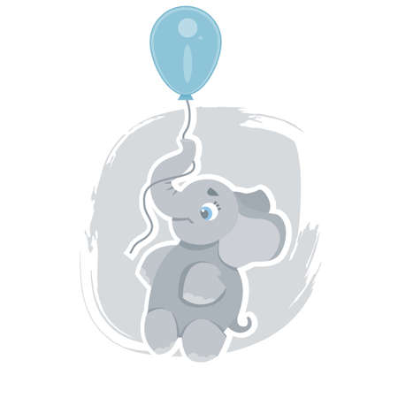 Cute cartoon elephant flying on a blue balloon, can be used as a print on children s clothing, vector