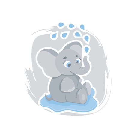 Cute cartoon elephant sitting in a puddle and washing, can be used as a print on children s clothing, vector eps 10 illustration